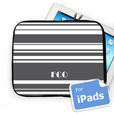 Custom Initials Grey Stripes Ipad Sleeve