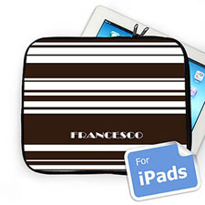 Custom Name Chocolate Stripes Ipad Sleeve
