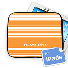 Custom Name Orange Stripes Ipad Sleeve