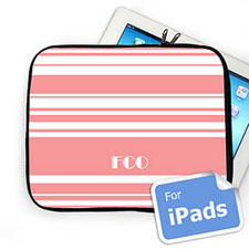 Custom Initials Pink Stripes Ipad Sleeve