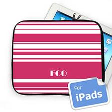 Custom Initials Hot Pink Stripes Ipad Sleeve