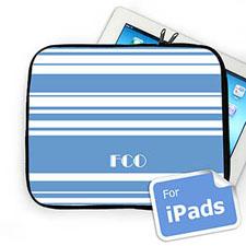 Custom Initials Sky Blue Stripes Ipad Sleeve