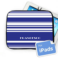 Custom Name Blue Stripes Ipad Sleeve