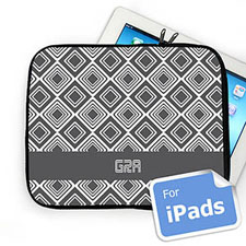 Custom Initials Grey Diamonds Ipad Sleeve