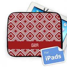 Custom Initials Red Diamonds iPad Sleeve