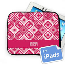 Custom Initials Hot Pink Diamonds Ipad Sleeve