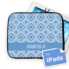 Custom Name Sky Blue Diamonds Ipad Sleeve