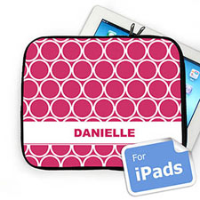 Custom Name Hot Pink Hoopla Ipad Sleeve