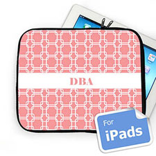 Custom Initials Pink Links iPad Sleeve