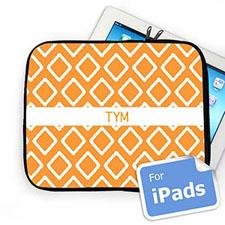 Custom Initials Orange Lkat Ipad Sleeve