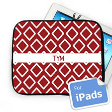 Custom Initials Red Lkat iPad Sleeve