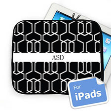 Custom Initials Black Trellis Ipad Sleeve
