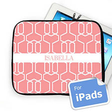 Custom Name Pink Trellis Ipad Sleeve