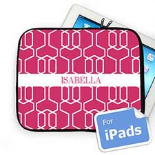 Custom Name Hot Pink Trellis Ipad Sleeve