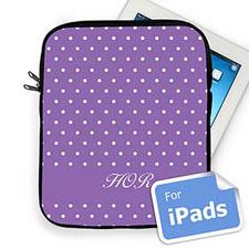 Custom Initials Lavender Polka Dots iPad Sleeve