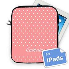 Custom Name Pink Polka Dots Ipad Sleeve
