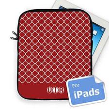 Custom Initials Red Quatrefoil Ipad Sleeve