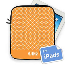 Custom Initials Orange Quatrefoil Ipad Sleeve