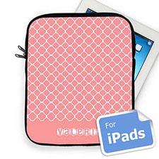 Custom Name Pink Quatrefoil Ipad Sleeve