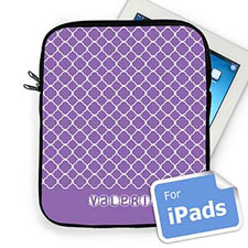Custom  Name Lavender  Quatrefoil  iPad Sleeve