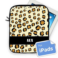 Custom Initials Leopard Pattern Ipad Sleeve