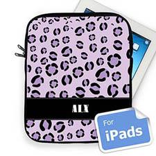 Custom Initials Purple Leopard Pattern Ipad Sleeve