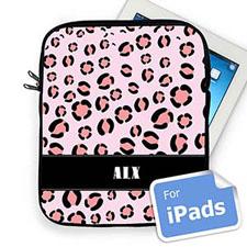 Custom Initials Pink Leopard Pattern iPad Sleeve