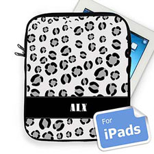 Custom Initials Black Leopard Pattern Ipad Sleeve