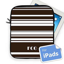 Custom Initials Chocolate Stripes  iPad Sleeve