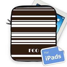 Custom Initials Chocolate Stripes Ipad Sleeve
