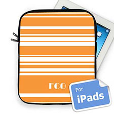 Custom Initials Orange Stripes Ipad Sleeve