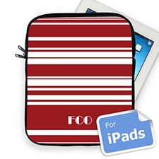 Custom Initials Red Stripes  iPad Sleeve