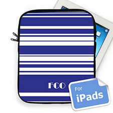 Custom Initials Blue Stripes Ipad Sleeve