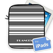 Custom Name Grey Stripes Ipad Sleeve