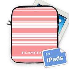 Custom Name Pink  Stripes Ipad Sleeve
