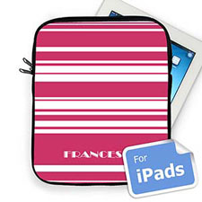 Custom Name Hot Pink Stripes Ipad Sleeve