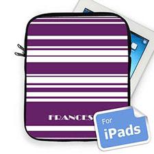 Custom Name Purple Stripes Ipad Sleeve