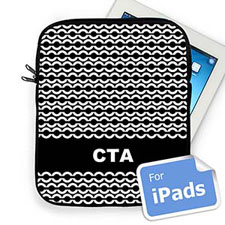 Custom Initials Black Chain Ipad Sleeve