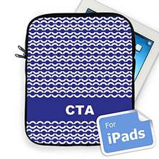 Custom Initials Blue Chain Ipad Sleeve