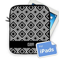 Custom Initials Black Diamonds Ipad Sleeve