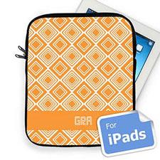 Custom Initials Orange Diamonds Ipad Sleeve