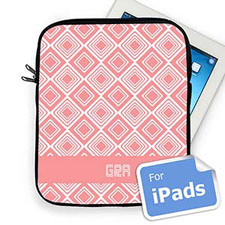 Custom Initials Pink Diamonds Ipad Sleeve