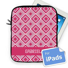 Custom Name Hot Pink Diamonds Ipad Sleeve