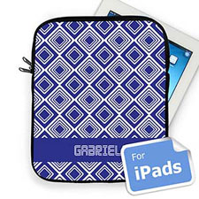 Custom Name Blue Diamonds Ipad Sleeve