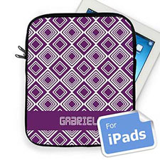Custom Name Purple Diamonds Ipad Sleeve
