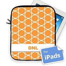 Custom Initials Orange Hoopla Ipad Sleeve