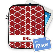 Custom Initials Red Hoopla Ipad Sleeve