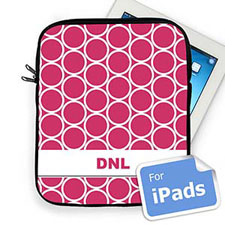 Custom Initials Hot Pink Hoopla Ipad Sleeve