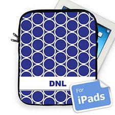 Custom Initials Blue Hoopla Ipad Sleeve