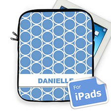 Custom Name Sky Blue Hoopla iPad Sleeve